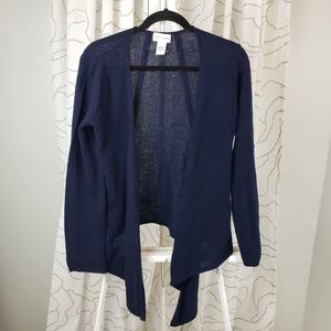 Soft Surroundings Navy Blue 100% Cashmere Cardigan